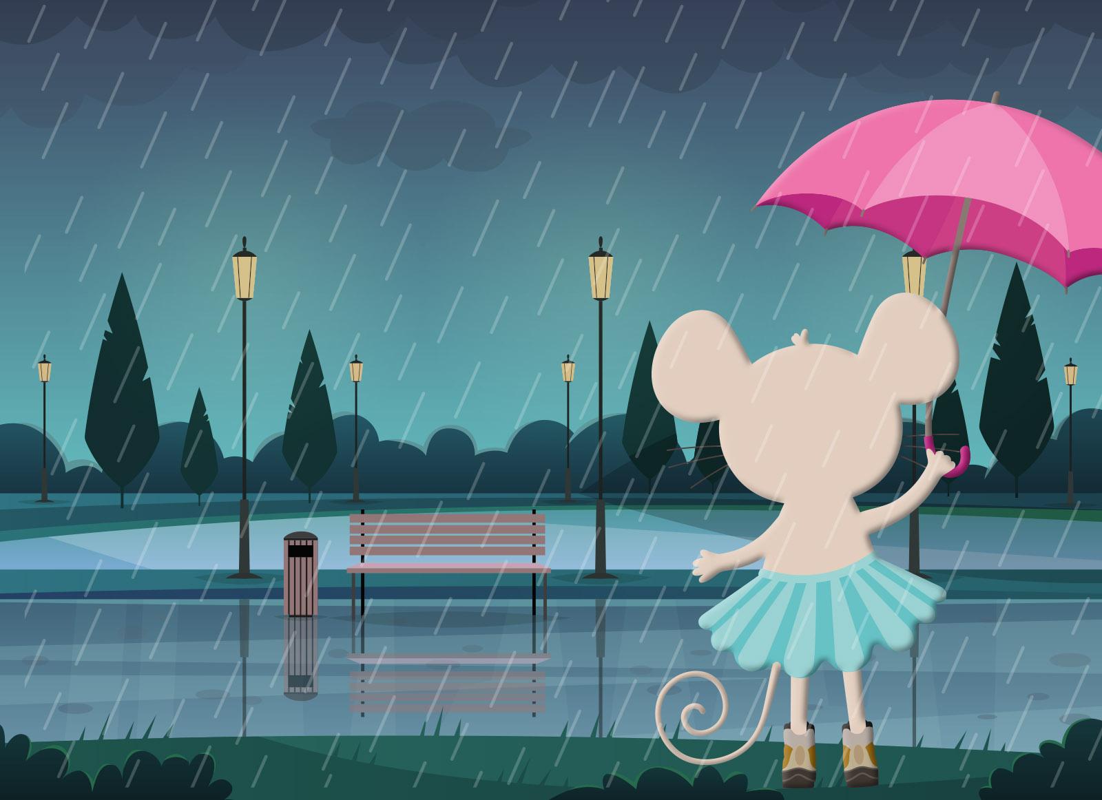 Lua Marthin de paseo con lluvia
