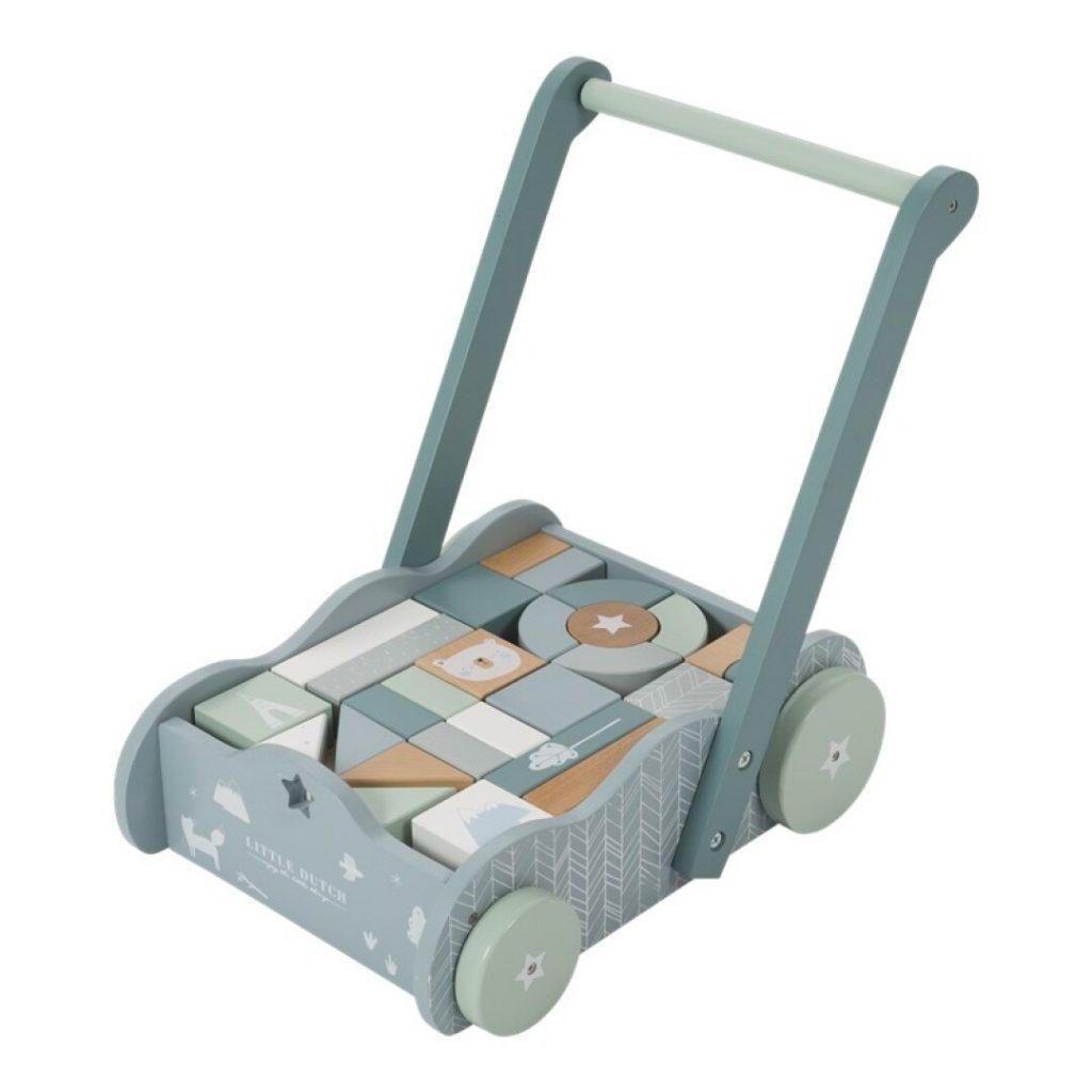 Andador azul de madera para bebés little dutch