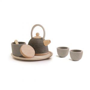 Juego de té oriental de madera 2