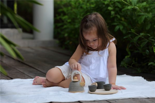 Juego de té oriental de madera