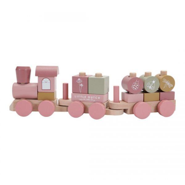 tren de madera apilable rosa flowers
