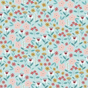 Turquesa flores rosas