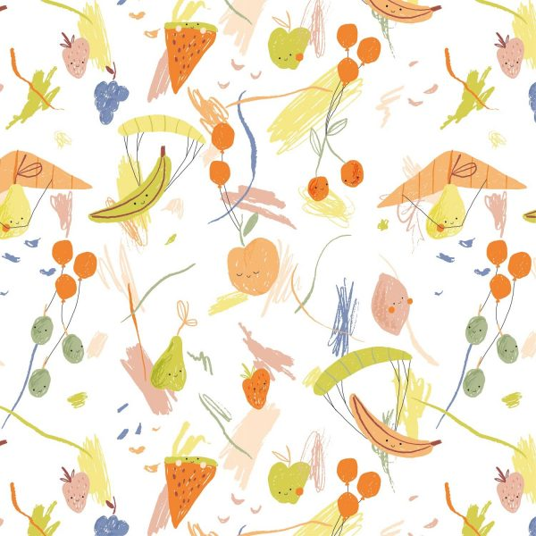 tela algodón frutas voladoras